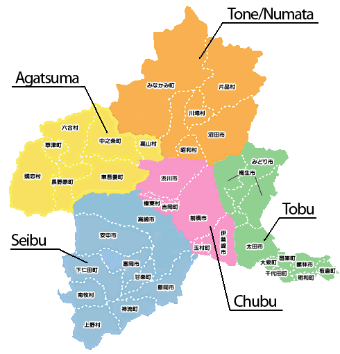 Map of Gunma Regions